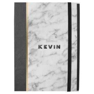 Modern Black Leather & White Marble
