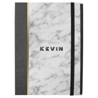 "Modern Black Leather & White Marble iPad Pro 12.9"" Case"