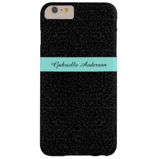 Modern Black Leopard Print Aqua Stripe With Name Barely There iPhone 6 Plus Case