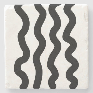 Modern Black Line Stone Coasters