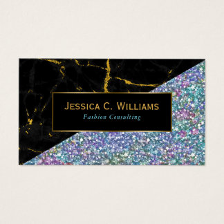 Modern Black Marble & Colorful Glitter Business Card