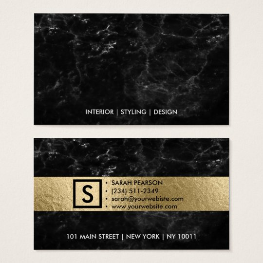 Modern black marble luxury faux gold professional business
