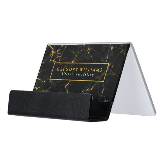 Modern Black Marble Texture With Gold Accents Desk Business Card Holder
