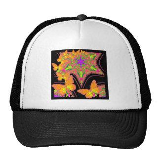 Modern Black Monarch Butterflies Art Design Cap