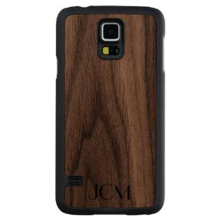 Modern Black Monogram Carved Walnut Galaxy S5 Case