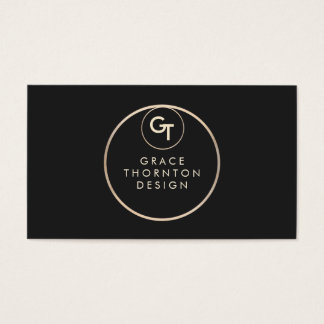 Modern Black Monogram Gold Circle Business Card