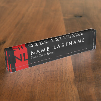 Modern Black Monogram Red Desk Nameplate