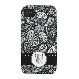 Modern Black Paisley with Personalization iPhone 4/4S Cover