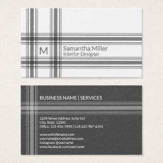 Modern Black Plaid Monogram | Simple Minimalist Business Card