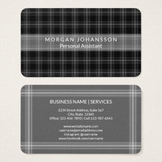 Modern Black Plaid | Simple Minimalist Rustic Business Card