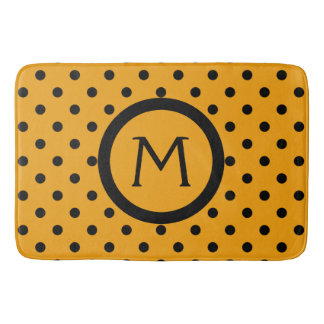 Modern Black Polka Dots on Gypsy Gold Monogram Bath Mat