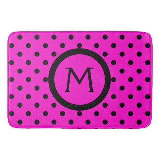 Modern Black Polka Dots on Pink Monogram Bath Mat
