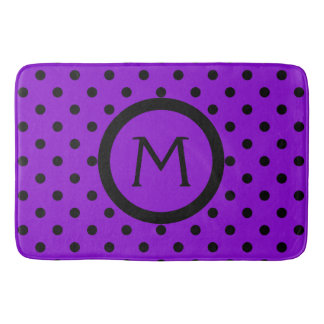 Modern Black Polka Dots on Purple Monogram Bath Mat