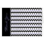 Modern Black Purple Chevron Peace Signs Thank You Greeting Card