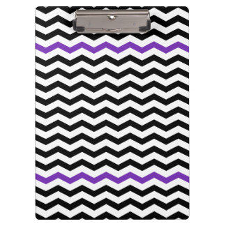 Modern Black & Purple Chevron Zigzag Clipboard
