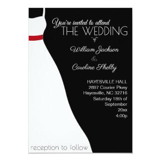 Modern Black Red Wedding Dress Wedding Invitation