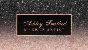Makeup artist business cards zazzle uk modern black rose gold glitter chic ombre makeup business card reheart Choice Image