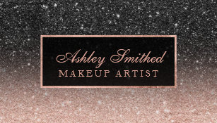 Glitter business cards zazzle uk modern black rose gold glitter chic ombre makeup business card reheart Choice Image
