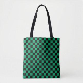 Modern Black Shamrock Green Checkerboard Pattern Tote Bag