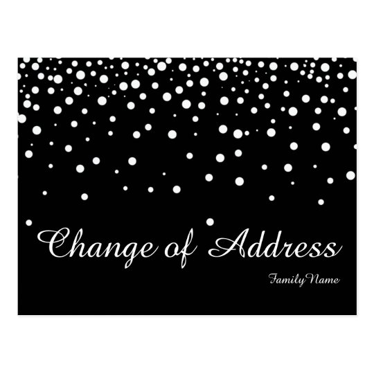 Modern Black Silver Glitter Change of Address Postcard