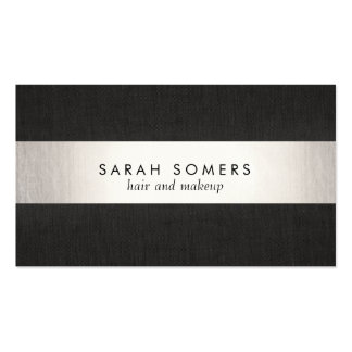 Modern Black Silver Striped Professional Pack Of Standard Business Cards