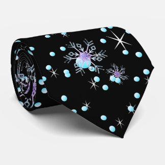 "Modern black snowflake ""Merry Christmas"" Tie"