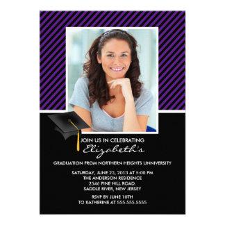 Modern Black Stripe Graduation Party Announcement