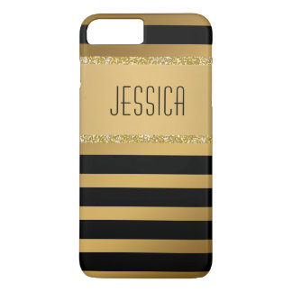 Modern Black Stripes Faux Gold Glitter Classy Name iPhone 8 Plus/7 Plus Case