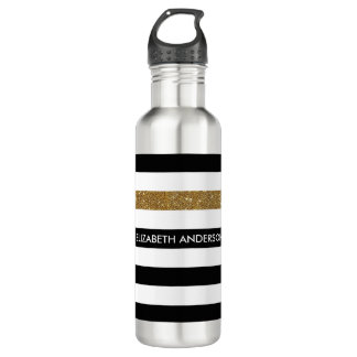 Modern Black Stripes FAUX Gold Glitz and Name 710 Ml Water Bottle