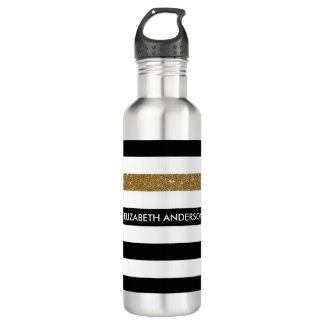 Modern Black Stripes FAUX Gold Glitz and Name Water Bottle