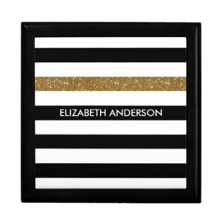 Modern Black Stripes FAUX Gold Glitz and Name Gift Box