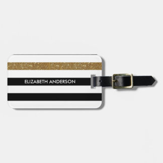Modern Black Stripes FAUX Gold Glitz and Name Luggage Tag