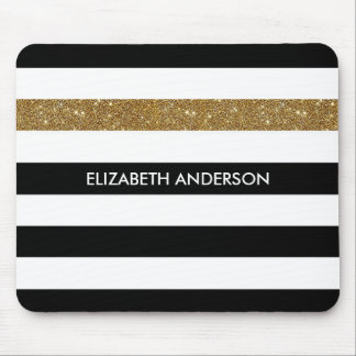 Modern Black Stripes FAUX Gold Glitz and Name Mouse Mat