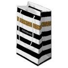 Modern Black Stripes FAUX Gold Glitz and Name Small Gift Bag