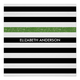 Modern Black Stripes FAUX Green Glitz and Name Poster