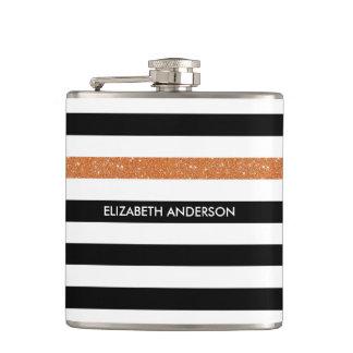 Modern Black Stripes FAUX Orange Glitz and Name Flasks