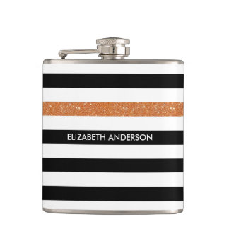Modern Black Stripes FAUX Orange Glitz and Name Hip Flask