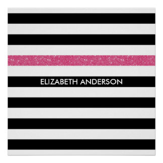Modern Black Stripes FAUX Pink Glitz and Name Poster
