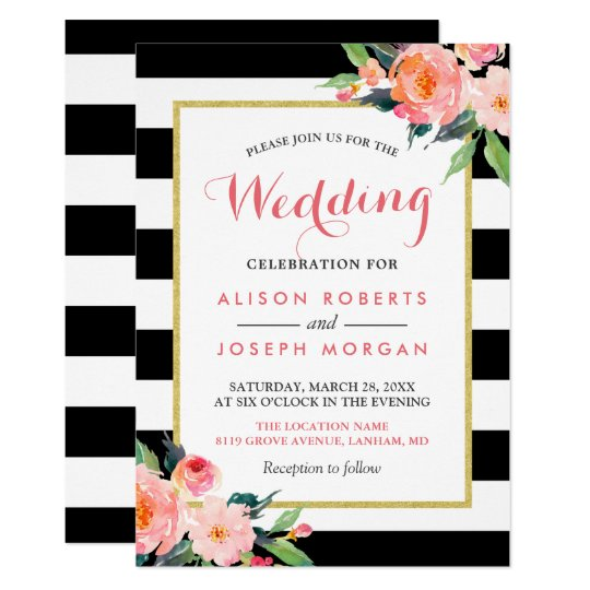 Modern Black Stripes Floral Wedding Celebration Card
