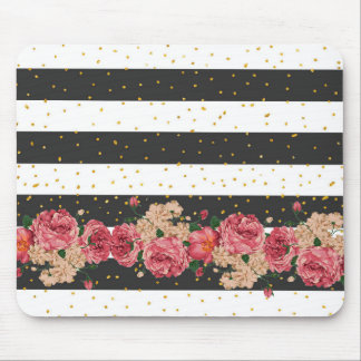 Modern black stripes gold faux glitter floral mouse pad