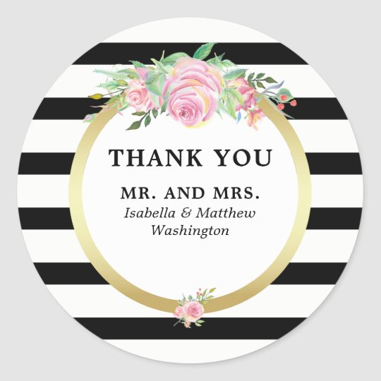 Modern Black Stripes Gold Floral Wedding Party Classic