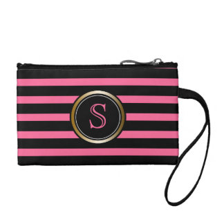 Modern Black Stripes Gold Pink Monogram Girly Change Purse