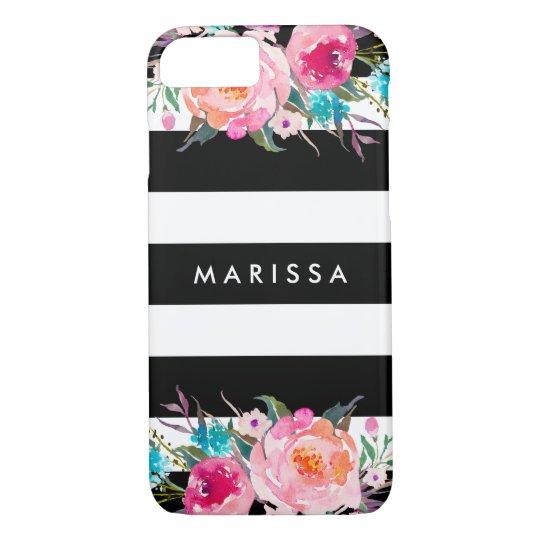 Modern Black Stripes Pink Floral Watercolor iPhone 8/7