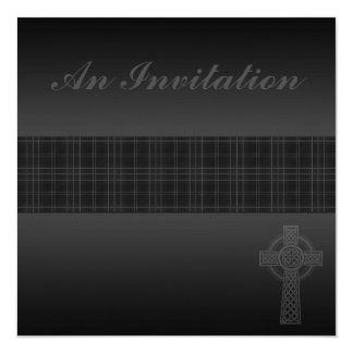 Modern Black Tartan Wedding with Celtic Cross Card