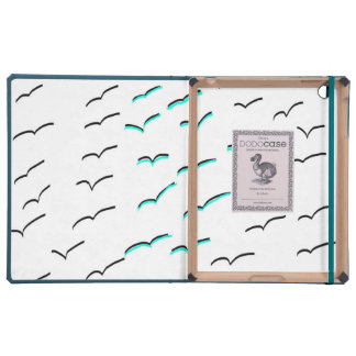 Modern black teal seagull cover for iPad