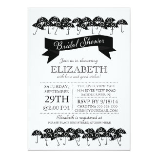 Modern Black Umbrella Bridal Shower Card
