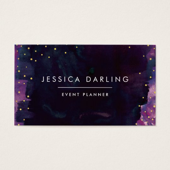 Modern Black Watercolor + Gold Confetti Business Card