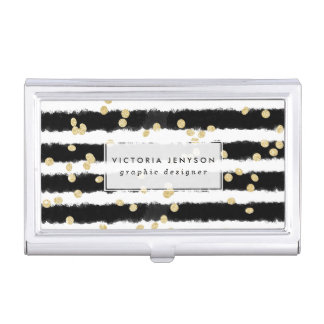 Modern black watercolor stripes chic gold confetti business card holders