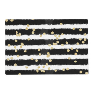Modern black watercolor stripes chic gold confetti laminated placemat