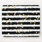 Modern black watercolor stripes chic gold confetti mouse mat